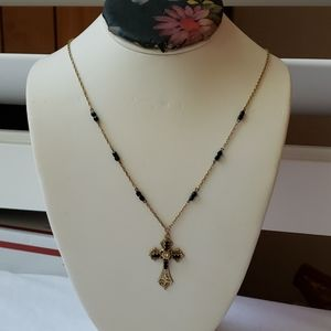 1928 Gold Necklace Cross and black Crystals